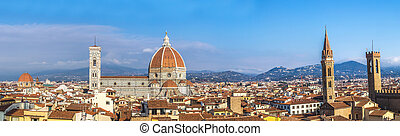 Cathedral Santa Maria del Fiore in Florence, Italy - Rooftop...