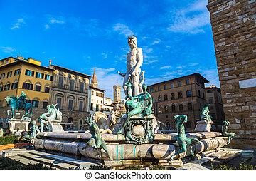 famosos, chafariz, Netuno, piazza, della, signoria,...