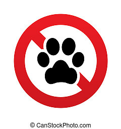 No Dog paw icon Pets symbol Prohibition sign - No Dog paw...