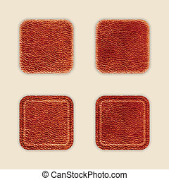 Natural Leather App Icon Template Set. Vector