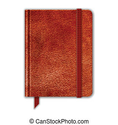 Natural Leather Notebook. Copybook With Band And Bookmark. Vector