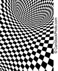 Illusion - Abstract illusion. Black and white