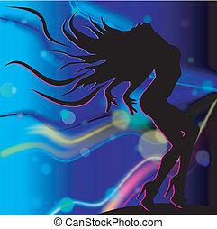 Dancing girl in blue light