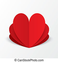 Paper heart Valentines day card. Flower concept.