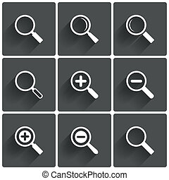 Zoom icons Search symbols Magnifier Glass signs illustration...