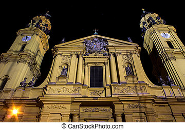Theatiner church munich at night