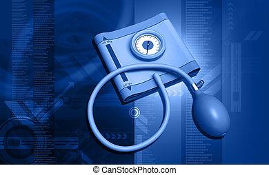 sphygmomanometer - digital illustration of a...