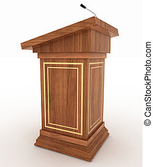 Podium and microphone - Podium for sermons on a white...