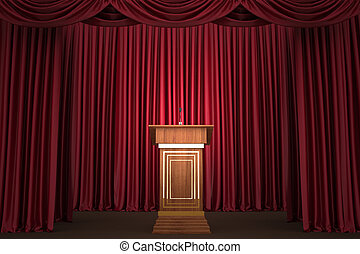 podium with microphone on stage - Podium and microphone in...