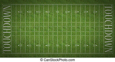 American Football Field - An overhead view of an american...
