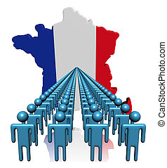 Lines of people with France map flag illustration