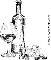 Bottle of wine and blue cheese. Hand drawn illustration