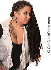 Tattooed woman with piercings and dreadlocks - Beautiful...
