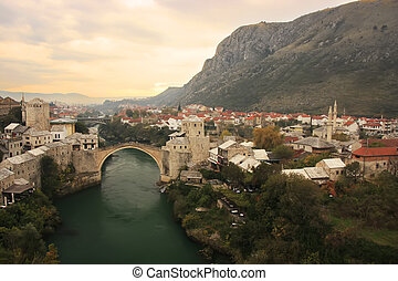 Town of Mostar and Stari Most at sunset, Bosnia and...