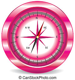 pink compass on white background