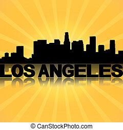 Los Angeles skyline reflected with sunburst illustration
