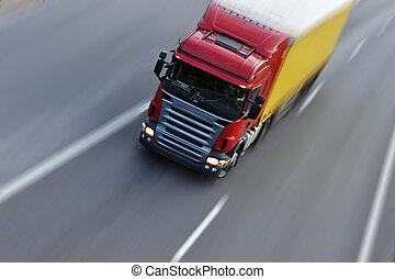 camión, Mudanza, carga, Rápido