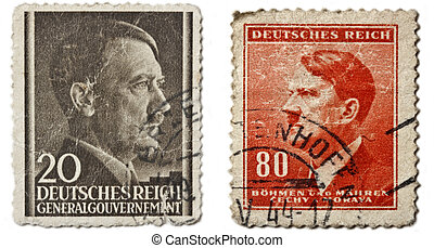German retro post stamps Hitler