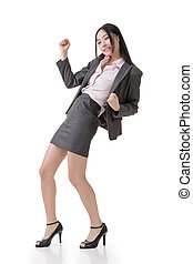 Cheerful business woman pose, full length portrait isolated...