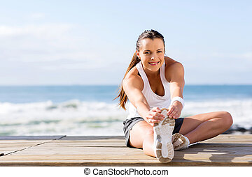 healthy woman fitness exercise - healthy woman stretching...
