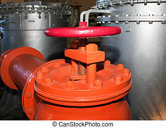 Orange stop valve industrial