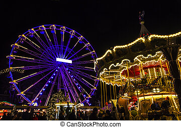 Turning Ferris wheel on achristmas market, Maastricht, the...