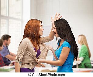 dos, Adolescentes, teniendo, pelea, obteniendo,...