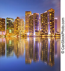 City of Miami Florida, night skyline Cityscape of...