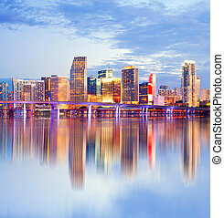 Miami Florida, sunset skyline with reflections