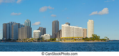 City of Miami, Florida cityscape of downtown business and...