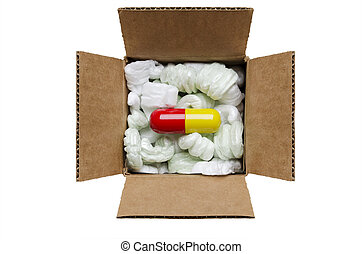 Mail order medicine - Large pill in a box with packaging...