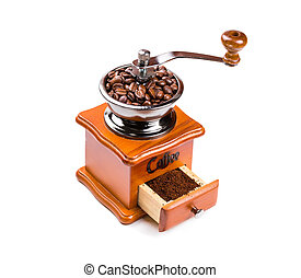Hand coffee mill isolated on white background