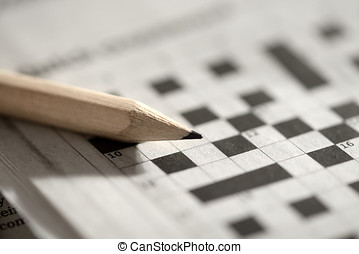Crossword puzzle and pencil - Close up view with shallow dof...