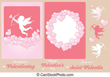 Set of cards for Valentines Day - Set of cards and design...