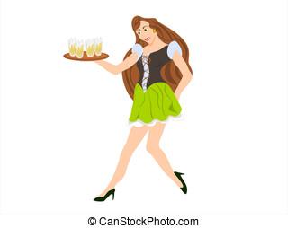 bar maiden short skirt - editable eps vector format, female...