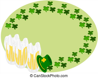 beer clover hat - editable eps vector format, circle...