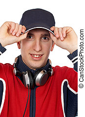 Disc Jockey - Disc jockey with the hands on the cap over a...