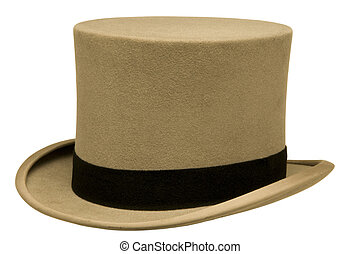 Vintage Gray Top Hat - Vintage gray top hat against white...