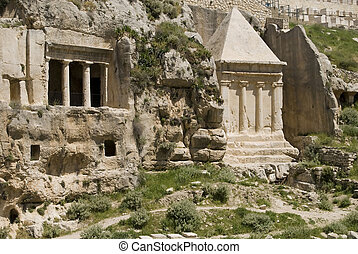 Pillars of Absalom - A view along the Kidron Valley towards...