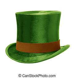 Green Top Hat with brown band, isolated against a white...
