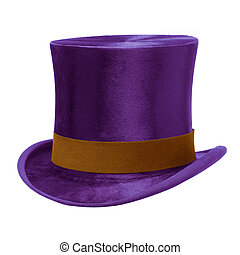 Purple Top Hat with brown band, isolated against white...
