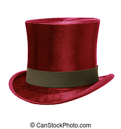 Red Top Hat with brown band, isolated against white...