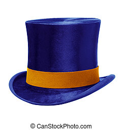 Blue Top Hat against White - Blue top hat with gold band,...