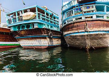 Sharjah port - SHARJAH, UAE - OCTOBER 29: Sharjah port, on...