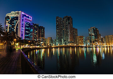 Night view of Sharjah UAE - SHARJAH, UAE - OCTOBER 29: Night...