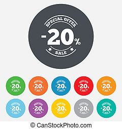 20 percent discount sign icon. Sale symbol. Special offer...
