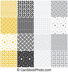 geometric seamless patterns: polka dots, waves, chevron -...