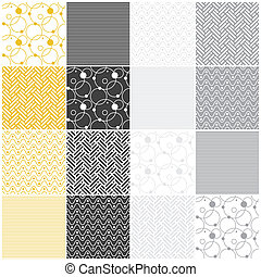 geometric seamless patterns: stripes, waves, dots, circles,...