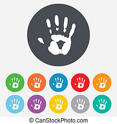 Hand print sign icon. Stop symbol. Round colourful 11...