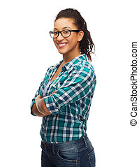 smiling african american girl in eyeglasses - happiness and...